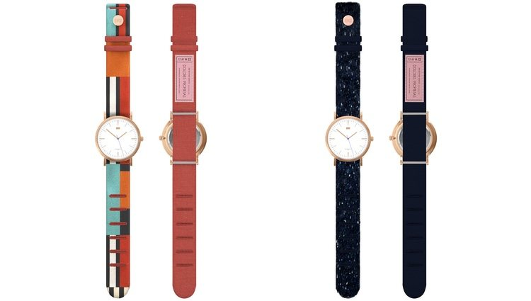 'Geometric Terracotta' y 'Velvet Blue' de la colección 'Button Watch X Dolores Promesas'