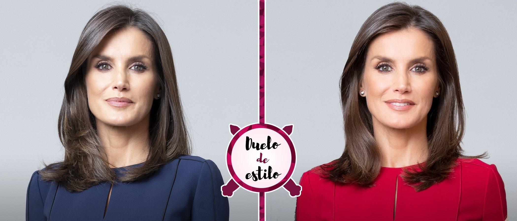La Reina Letizia escoge el mismo vestido en dos colores diferentes para los nuevos retaros oficiales