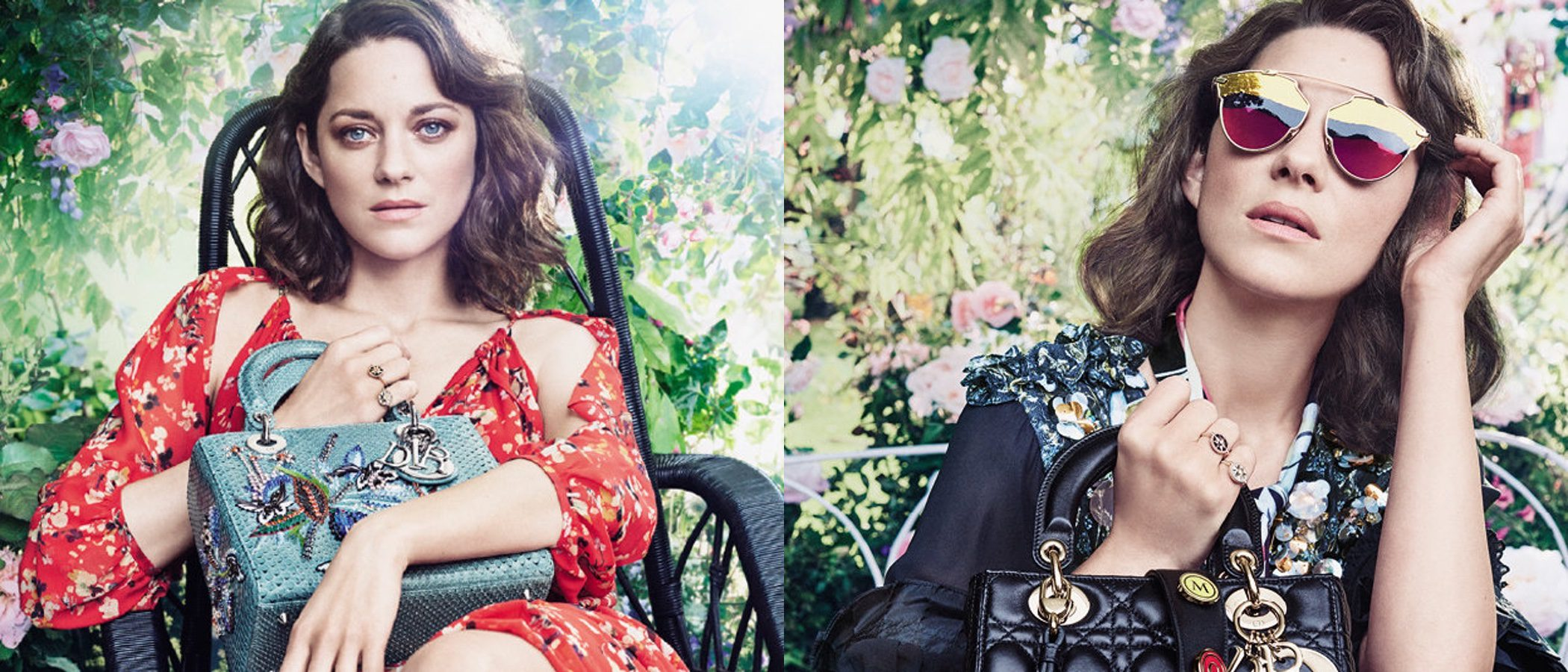 Marion Cotillard vuelve a poner rostro a los bolsos Lady Dior 2017 en una campaña muy floral