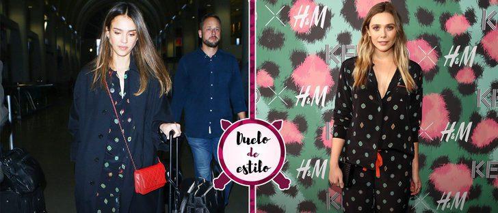 Jessica Alba y Elizabeth Olsen, enfrentadas por un mismo estilo pijamero de Kenzo x H&M