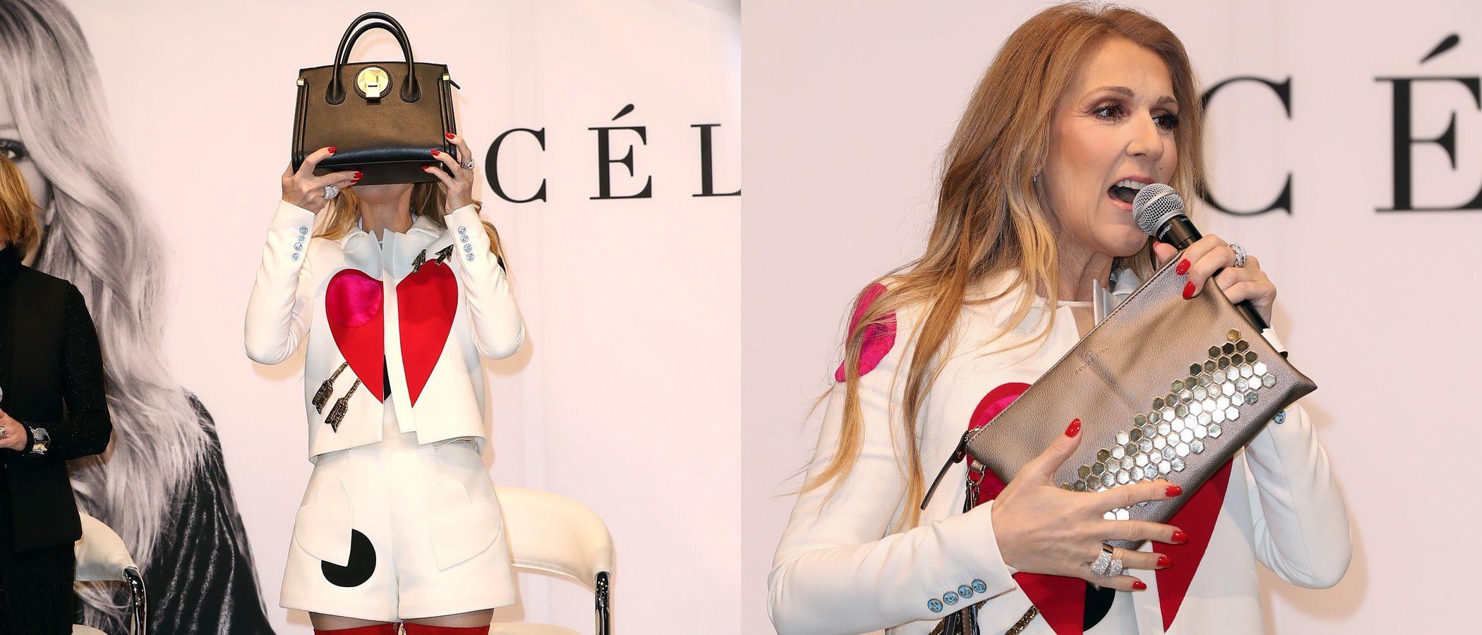 Céline Dion presenta su nueva y variada línea de bolsos 'Celine Dion Collection' con un look romántico