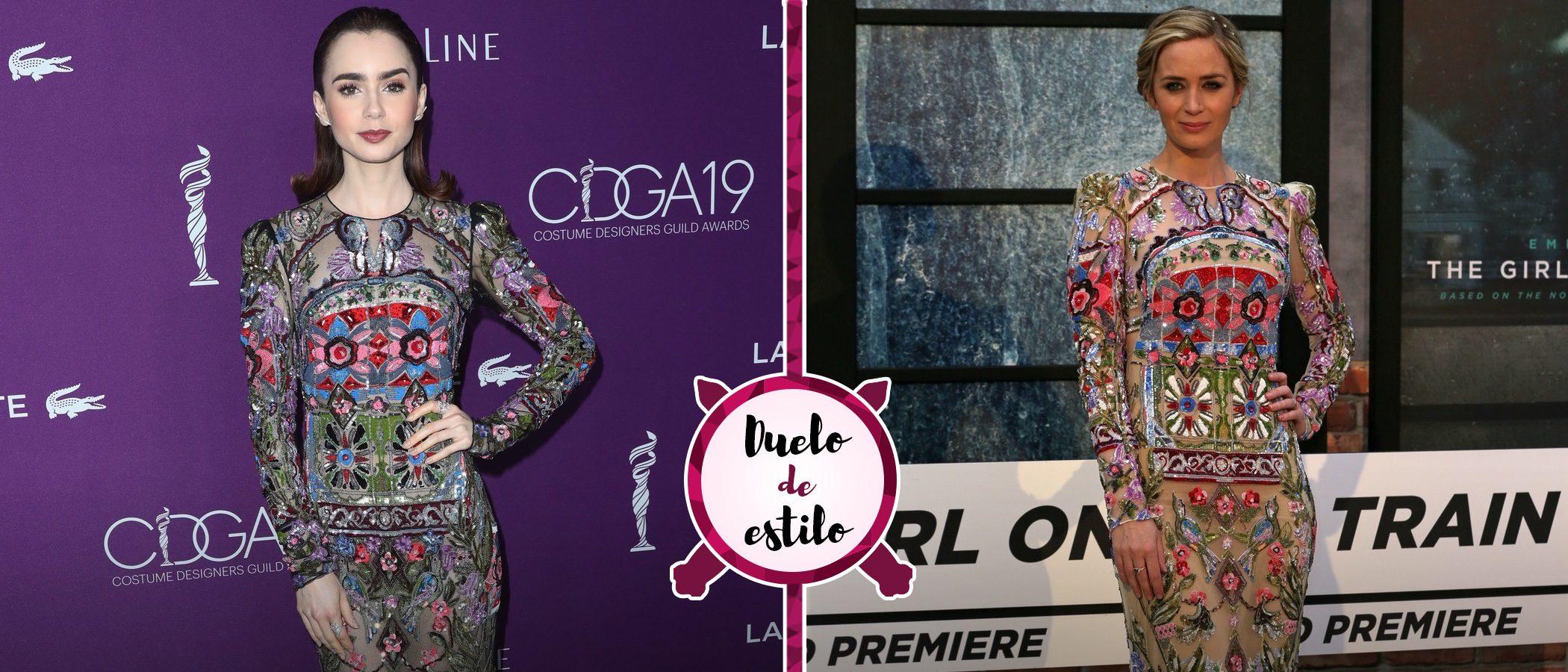 Lily Collins y Emily Blunt apuestan por el mismo Alexander McQueen, ¿quién lo luce mejor?