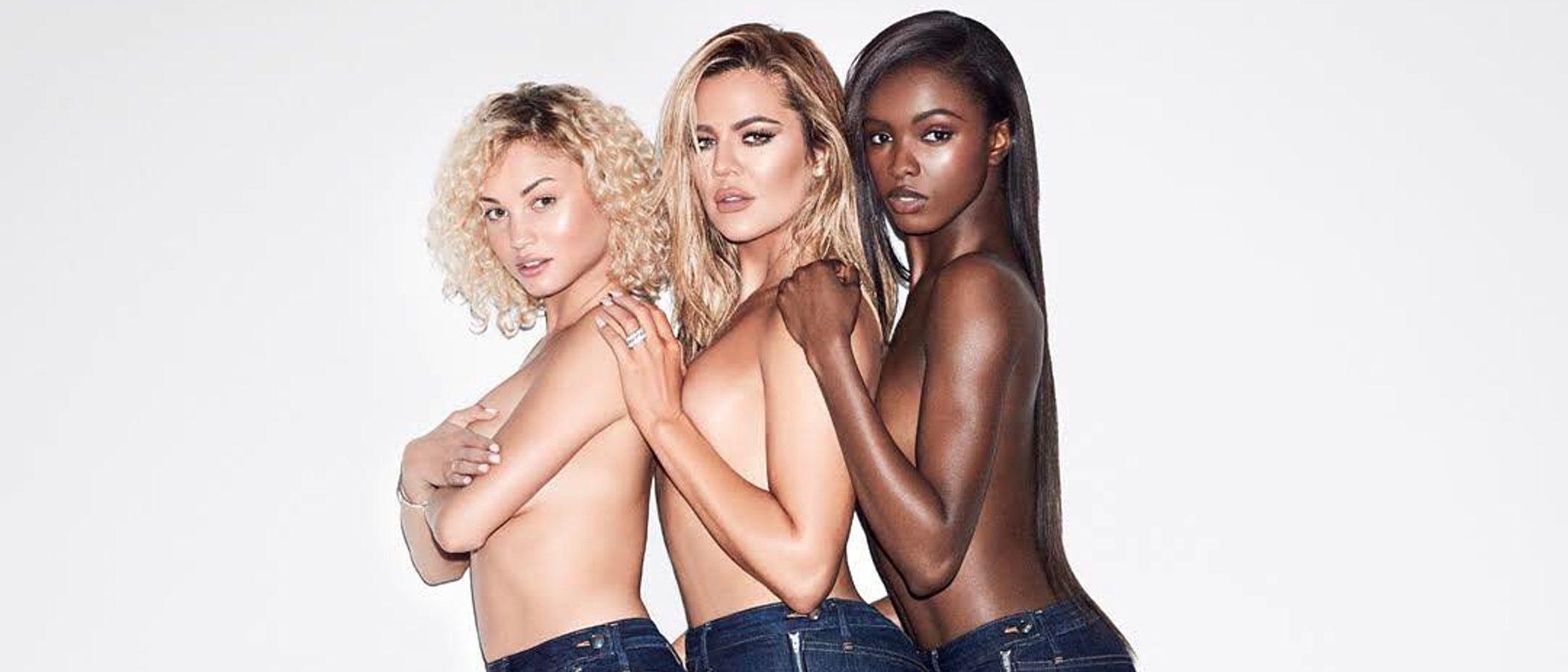 Khloe Kardashian promociona en topless su nueva colección de vaqueros 'Good American'