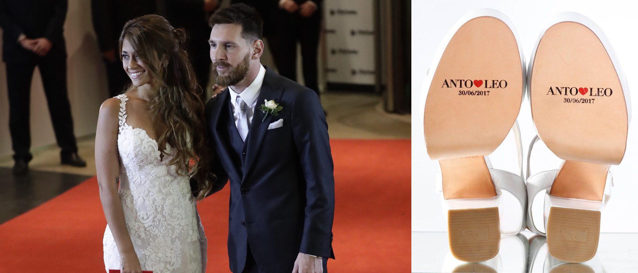 Los zapatos personalizados de Antonella Roccuzzo para su boda con Leo Messi