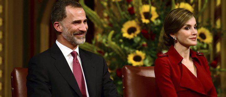 La Reina Letizia repite un Carolina Herrera y sigue fiel a Felipe Varela en su Viaje de Estado a Reino Unido