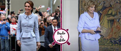 María Teresa Campos se 'inspira' en Kate Middleton con un look serenity. ¿Quién lo luce mejor?