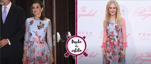 La Reina Letizia se 'inspira' en el estilo de Nicole Kidman con un vestido muy parecido