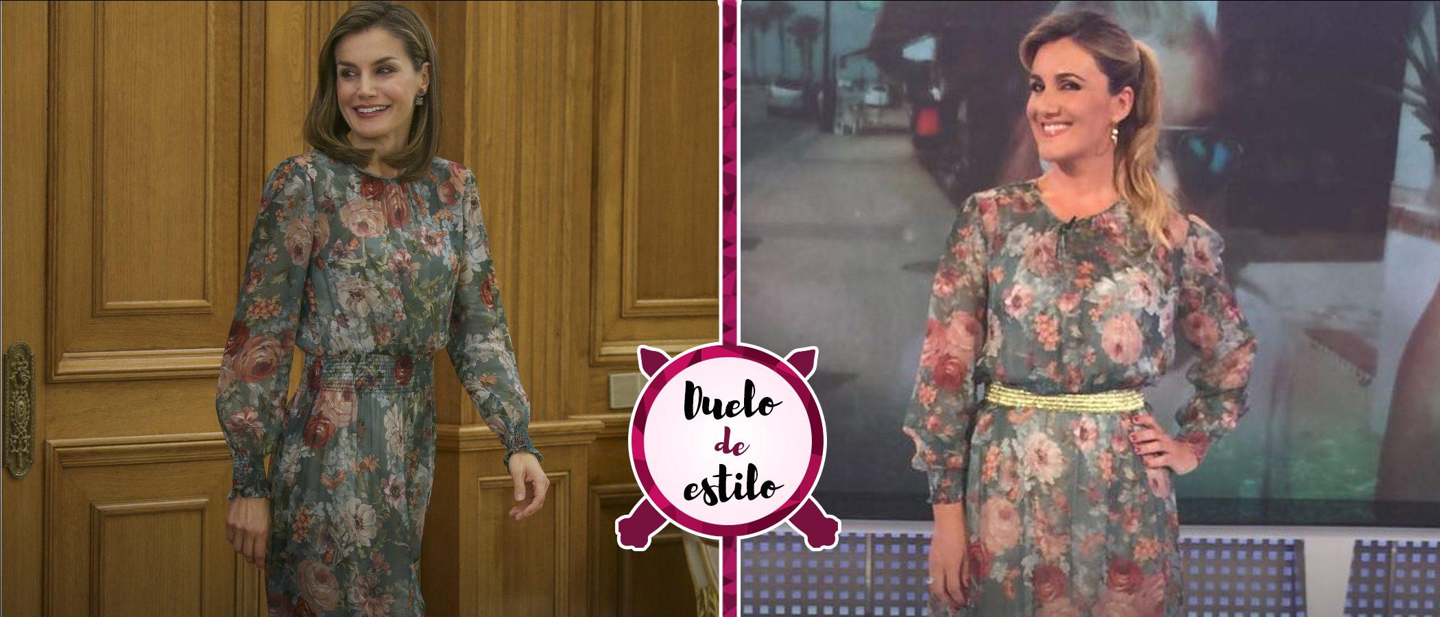 La Reina Letizia, Carlota Corredera y un mismo vestido floral de Zara: así son los dos looks