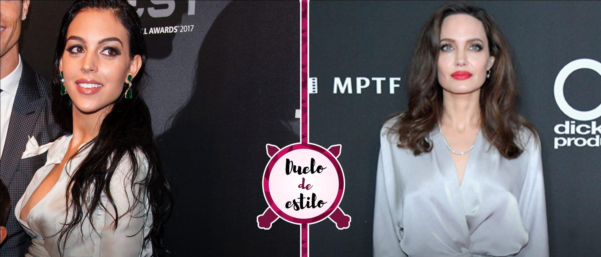 Georgina Rodríguez y Angelina Jolie apuestan por un look muy parecido. ¿A quién le sienta mejor?