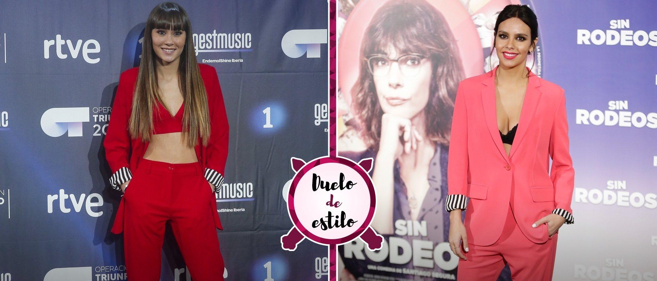 Cristina Pedroche le 'copia' el look a Aitana y apuesta por el mismo traje de chaqueta