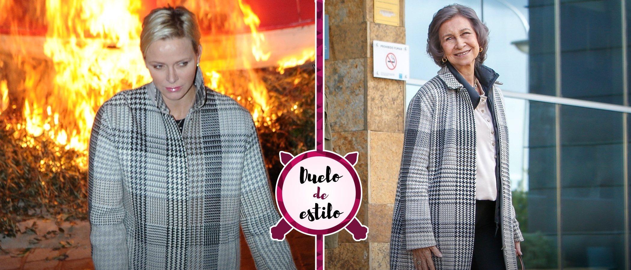 Charlene de Mónaco y la Reina Sofía apuestan por el mismo abrigo de cuadros, ¿quién lo lleva mejor?