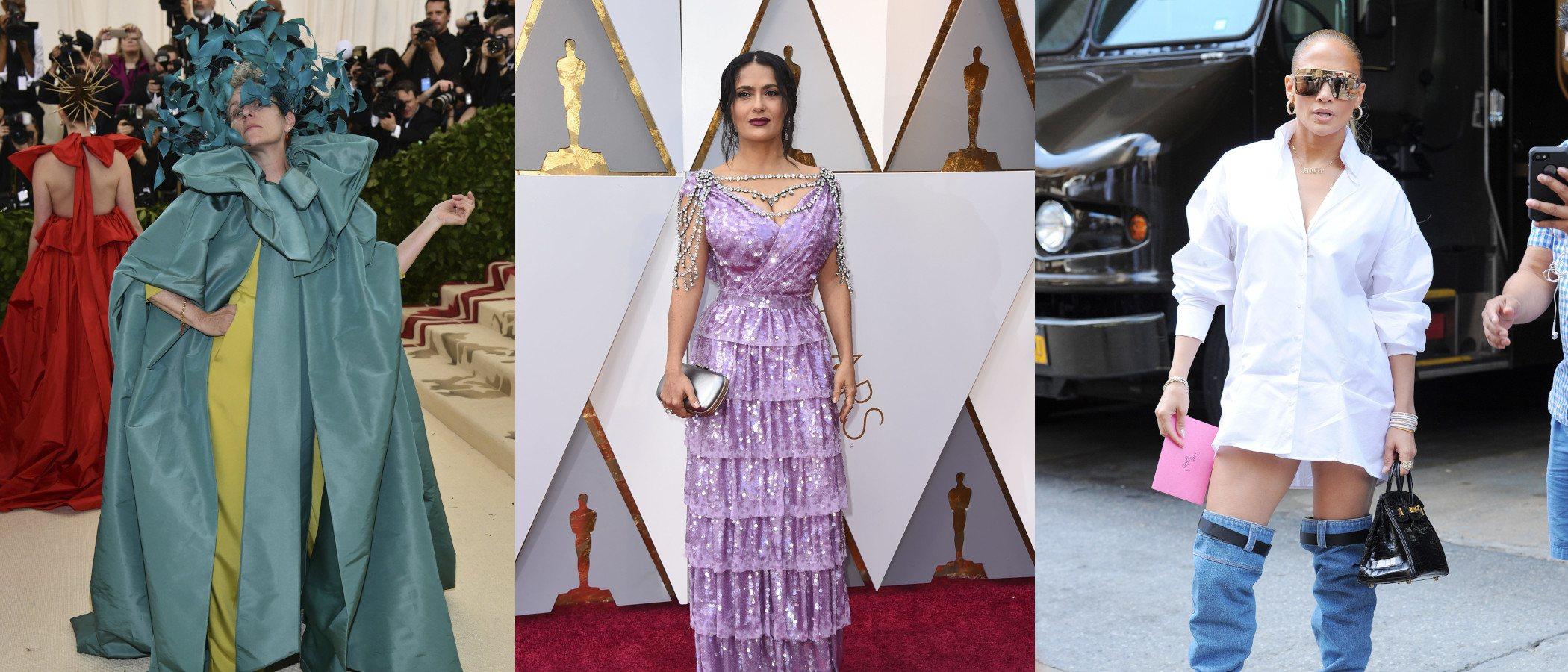 Jennifer Lopez, Salma Hayek y Frances McDormand entre las peor vestidas de 2018