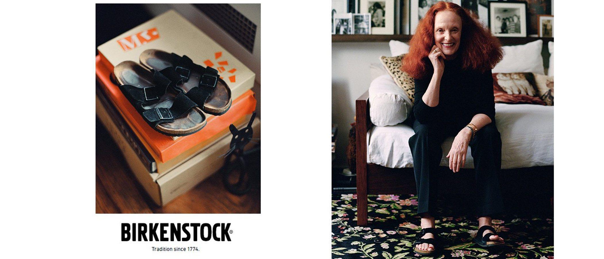 Grace Coddington vuelve a posar como modelo en la nueva campaña de Birkenstock