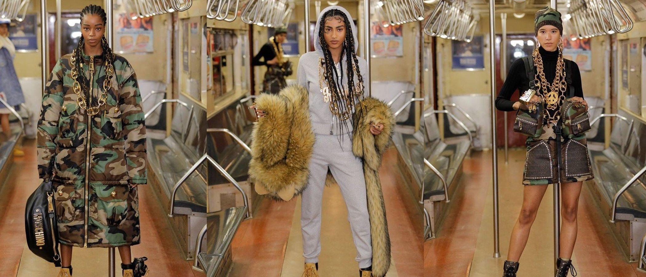 El metro de Nueva York se convierte en la última pasarela para el desfile de Moschino