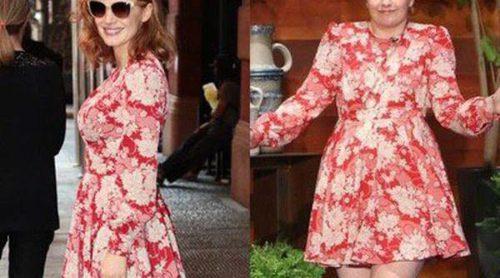 ¿Quién lo luce mejor? Jessica Chastain y Lena Dunham, dos actrices y un mismo Saint Laurent floreado