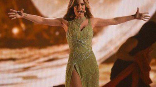 De color verde y con transparencias: el estilismo de Edurne en Eurovisión