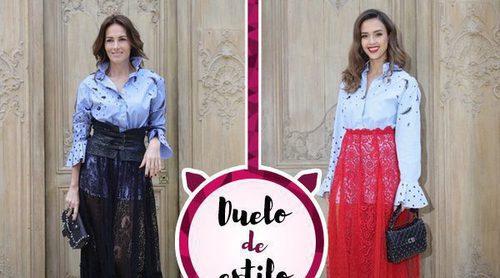 Jessica Alba y Adriana Abascal coinciden en un desfile con la misma camisa de Valentino