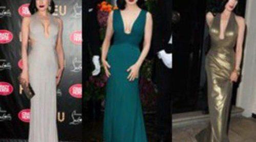 Dita Von Teese repite diseño: un vestido en tres colores