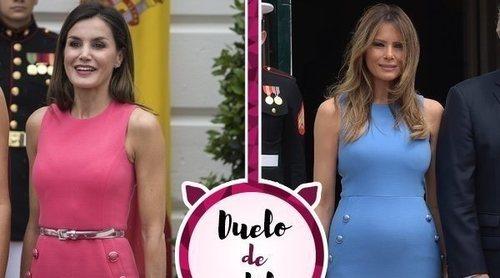 La Reina Letizia apuesta por un vestido de Michael Kors en su visita a EEUU que ya lució Melania Trump
