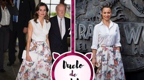 La Reina Letizia, Natalia Verbeke y la misma falda de flores. ¿A quién le sienta mejor?