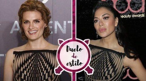 Duelo de estilo: Nicole Scherzinger y Stana Katic en un mismo vestido psicodélico, ¿quién lo lleva mejor?