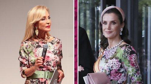 Carmen Lomana escoge el mismo vestido con el que la Reina Letizia acaparó todos los flashes en Japón