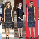 La Princesa Letizia repite un vestido negro y azul de Felipe Varela
