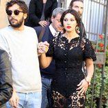 Monica Bellucci durante la grabación del spot Dolce&Gabbana con un total look de encaje