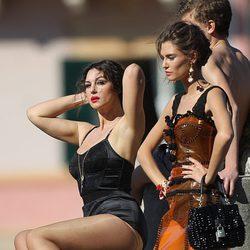 Monica Bellucci durante la grabación del spot Dolce&Gabbana con lencería negra