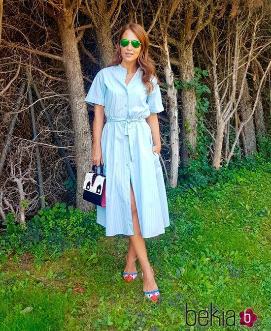 Vestido rayas azul y blanco zara