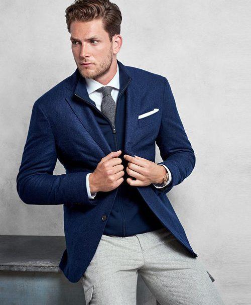 Chaqueta de lana azul marino de Brooks Brothers otoño/invierno 2016/2017