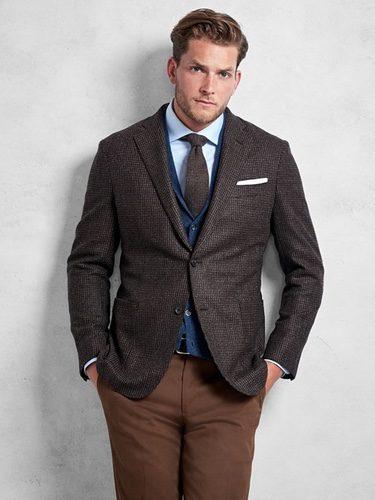 Chaqueta de lana marrón de Brooks Brothers otoño/invierno 2016/2017