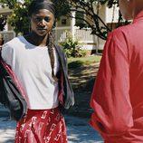 Falda roja de la colección de Adidas con Pharrell Williams