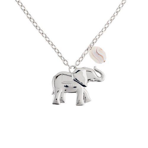 Colgante de elefante plateado de la colección de Sara Carbonero para Agatha París