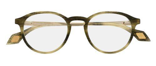 Gafas de lentes redondas y acabados en cuero de la colección 'Vista 2016' de Carolina Herrera