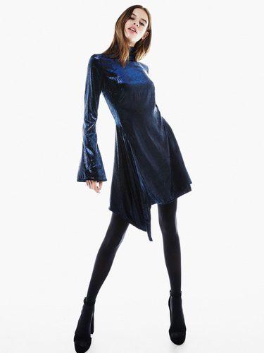 Vestido azul de Bershka para Navidad 2016