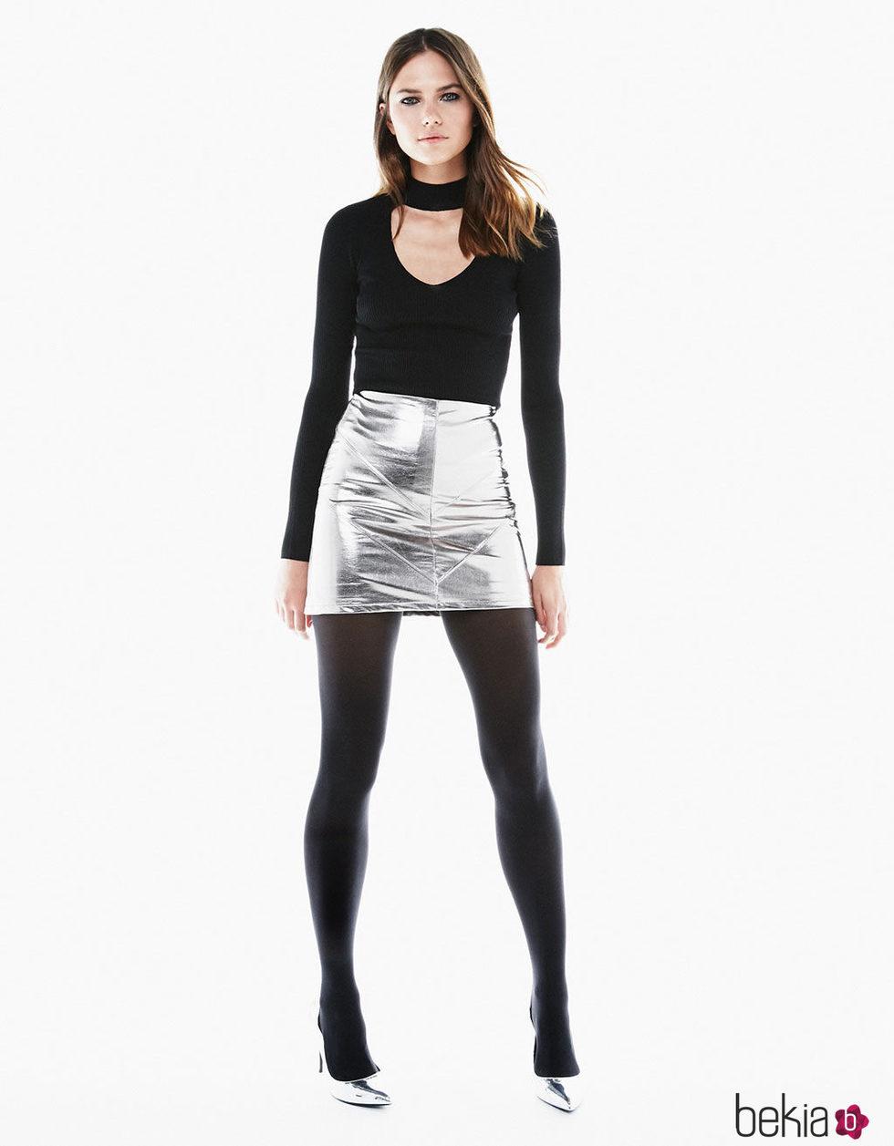 Falda metalizada de Bershka para Navidad 2016