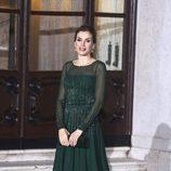 La Reina Letizia con un vestido verde veronés en la cena con el Primer Ministro portugués y su mujer