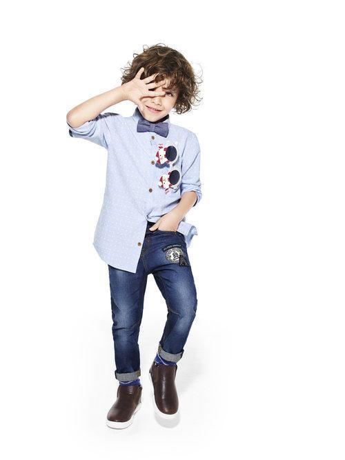 Camisa azul con lunares de Primark colección niños Navidad 2016
