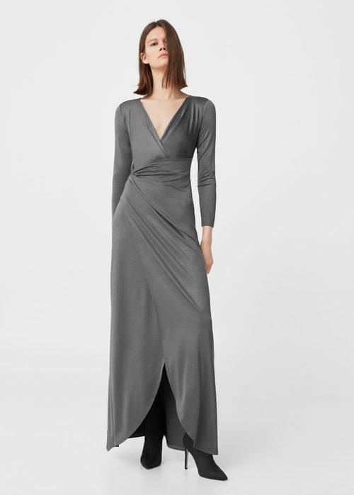 Vestido largo gris plata de Mango para Navidad 2016