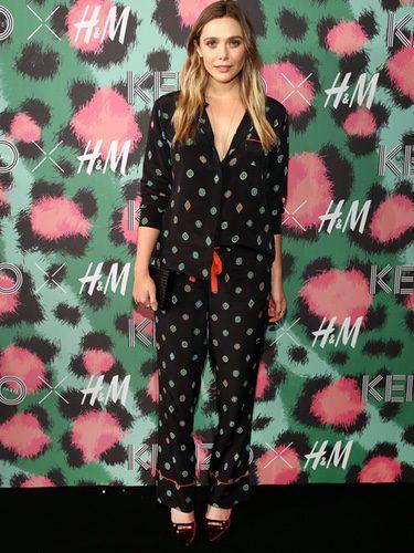 Elizabeth Olsen con un outfit pijamero en la presentación de la colección Kenzo x H&M en Nueva York