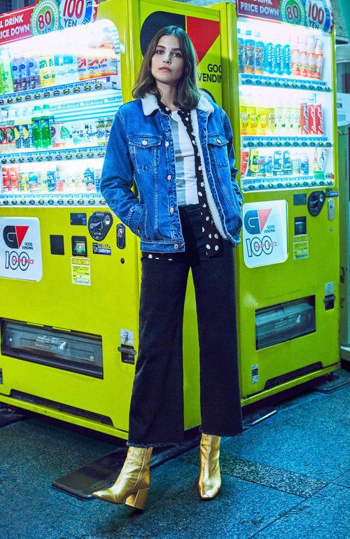 Alma Jodorowsky con una chaqueta denim de Mango colección 'Journeys' invierno 2017