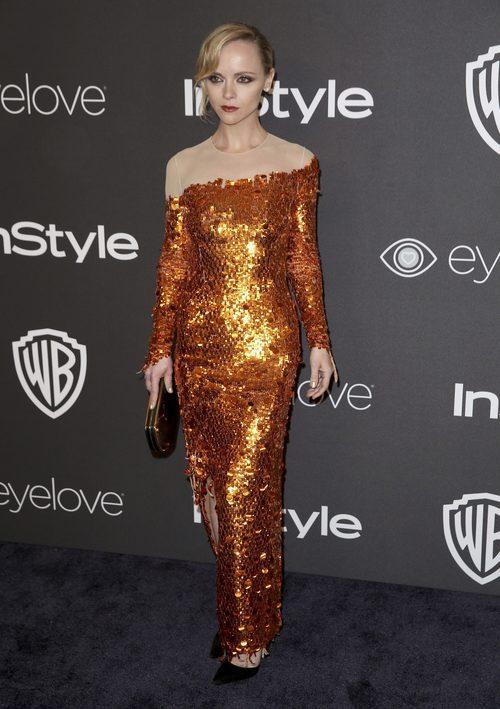 Christina Ricci con un vestido de lentejuelas en la fiesta InStyle y Warner Bros tras los Globos de Oro 2017