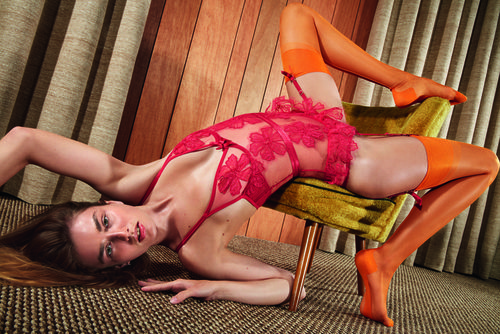 Body rojo con flores 3D de Agent Provocateur primavera/verano 2017