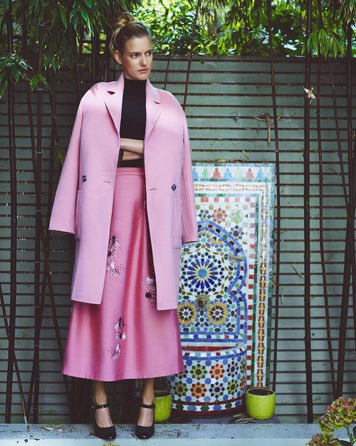 Abrigo oversize de color rosa de L.K.Bennett colección primavera/verano 2017