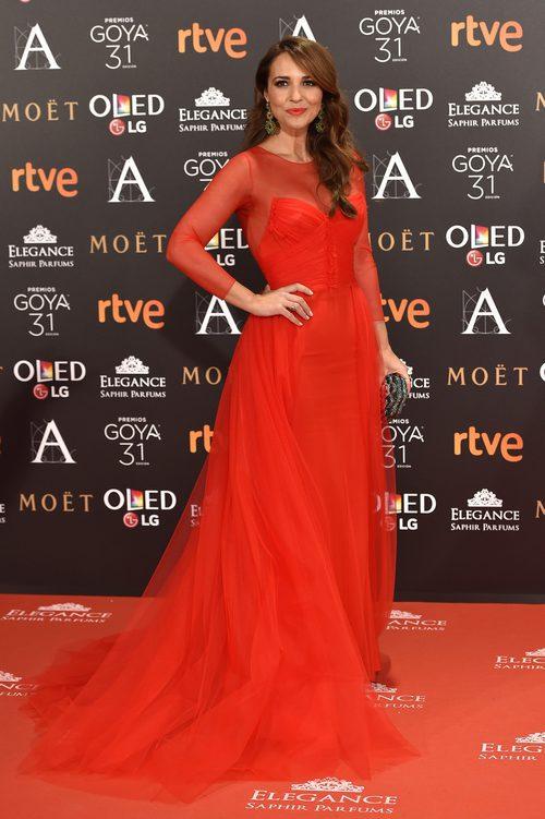 Paula Echevarría con un look de Jorge Vázquez en los Premios Goya 2017