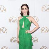 Lily Collins con un vestido estilo griego en los Producers Guild Awards 2017