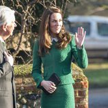 Kate Middleton con un traje verde en enero de 2017