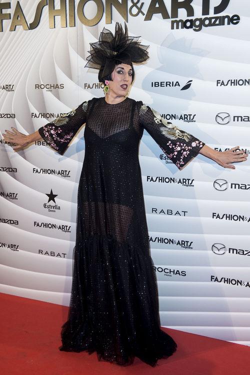 Rossy de Palma con un vestido brilly en el aniversario de Magazine Fashion & Arts