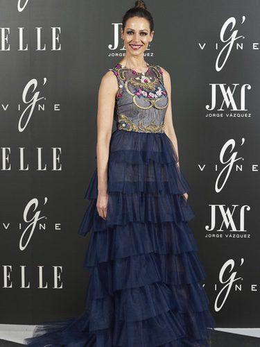 Eva González con un vestido con volumen en la fiesta posterior al desfile de Jorge Vázquez